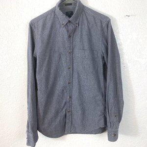 J CREW  Small Button Down L/S Marled Gray Shirt